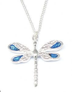 Blue Enamel Wings Dragonfly Necklace